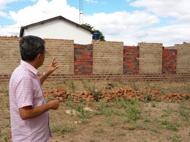 Obras de ampliação do Museu Pai Chico no povoado de Caboclo, em  Afrânio-PE. (Foto: Paulo Ricardo Sobral/TV Grande Rio)