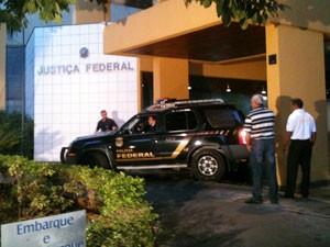 Prédio da Justiça Federal em Goiânia, onde Carlinhos Cachoeira deve prestar depoimento (Foto: Versanna Carvalho/G1)