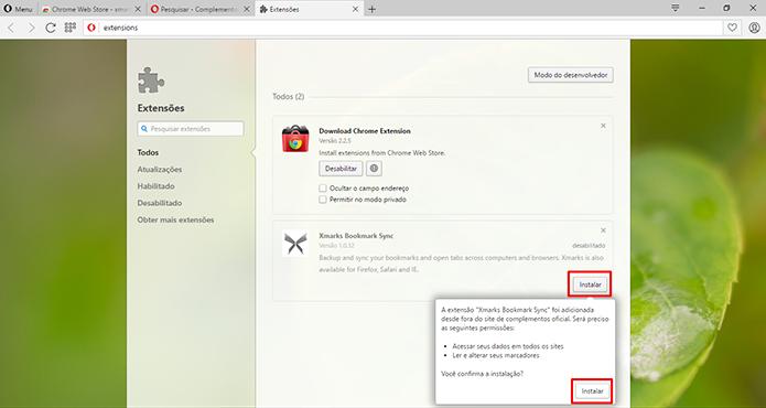 Opera precisa da confirmação para instalar a extensão do Chrome (Foto: Reprodução/Elson de Souza)