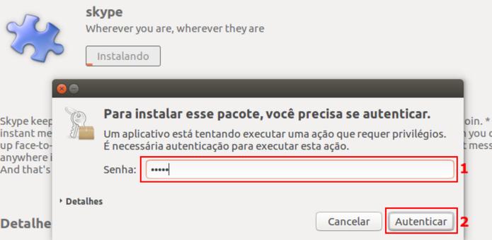 Autorizando a instalação do Skype no Ubuntu (Foto: Reprodução/Edivaldo Brito)