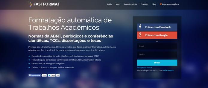 Site brasileiro FastFormat permite formatar trabalhos acadêmicos de forma simples (Foto: Reprodução/Barbara Mannara)