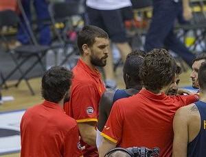 Marc Gasol com os companheiros de seleção espanhola (Foto: Reprodução/Twitter)