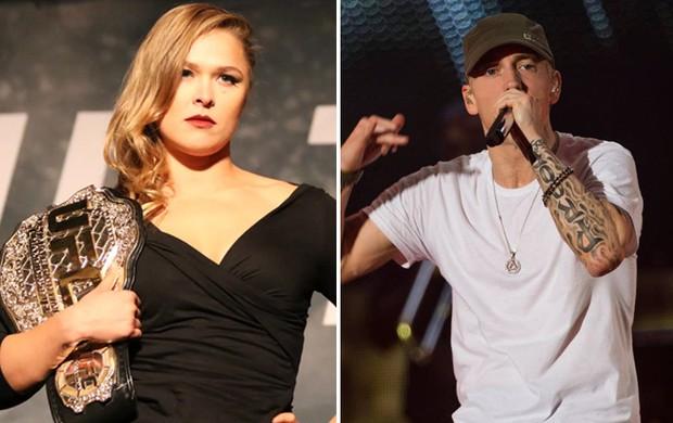 montagem Ronda Rousey e Eminem (Foto: Editoria de Arte)