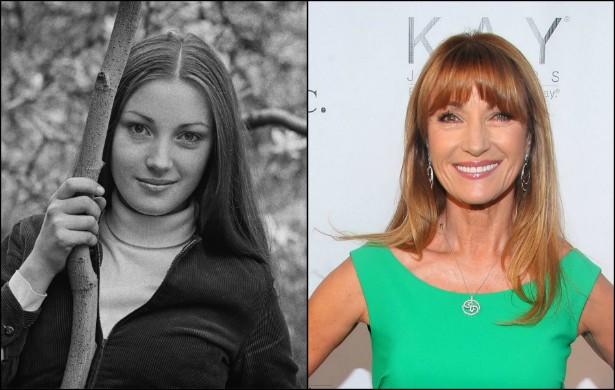 Jane Seymour com 18 aninhos, em abril de 1969, e hoje, com 63. (Foto: Getty Images)