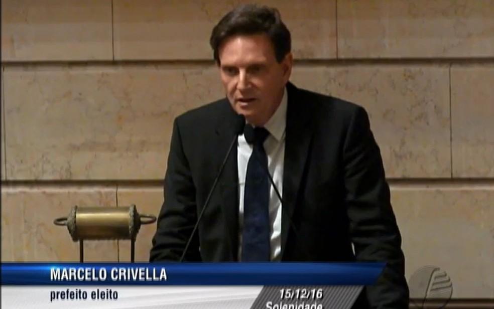 Marcelo Crivella durante cerimônia na Câmara do Rio (Foto: TV Câmara / Reprodução)