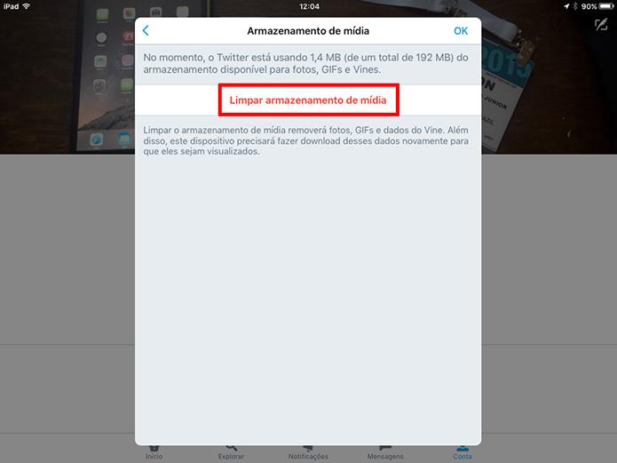 Selecione opção para limpar cache do Twitter do iOS e liberar espaço interno (Foto: Reprodução/Elson de Souza)