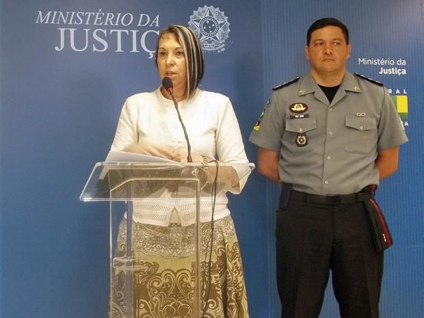 A secretária nacional de Segurança Pública, Regina Miki, durante divulgação de balanço sobre a Força Nacional (Foto: Weldson Medeiros / G1)