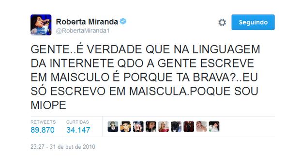 Roberta Miranda usando caixa alta (Foto: Reprodução/Twitter)