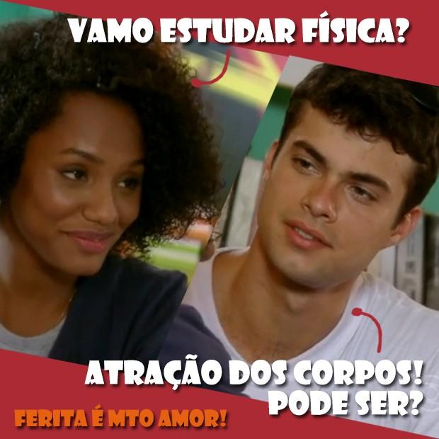 Cantada do Fera foi demais! (Foto: Malhação / TV Globo)