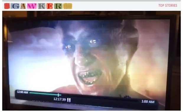 Cena de vinheta de previsão do tempo em TV dos EUA mostra uma imagem de 'demônio' (Foto: Reprodução)