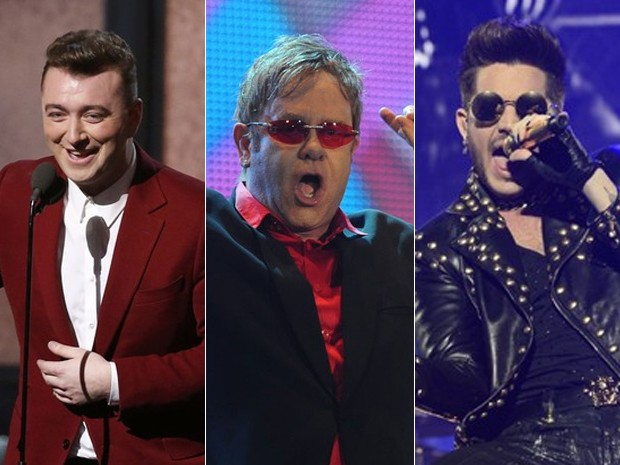 Sam Smith, Elton John e Adam Lambert (Foto: Reuters, AP e G1)