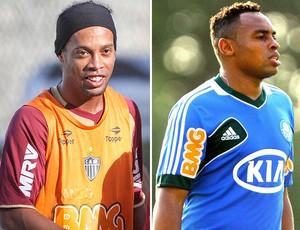 Ronaldinho Atlético-MG Obina Palmeiras  (Foto: Editoria de Arte / Globoesporte.com)