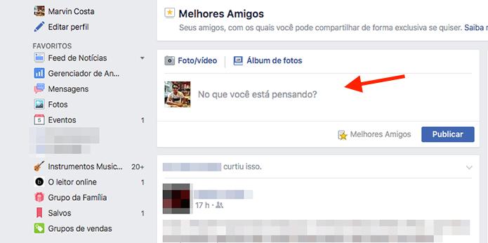 Ferramenta de atualização de status da função Melhores Amigos do Facebook (Foto: Reprodução/Marvin Costa)