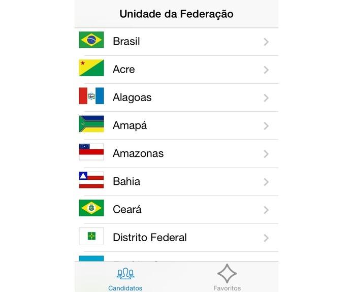 No app Candidaturas, é possível escolher qualquer Unidade da Federação para consultar seus candidatos (Foto: Reprodução/Paulo Finotti)