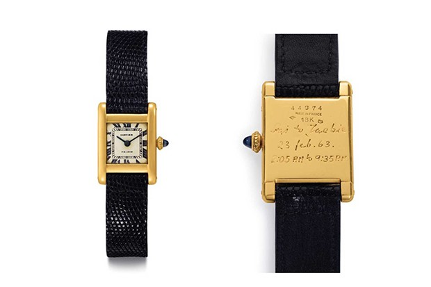 Jackie Kennedy's Cartier 'Tank' wristwatch was bought for $379,500 by Kim Kardashian at Christie's auction in New York (Foto: CARTIER)
