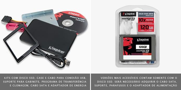 Kits completos já vem com todos os itens necessários para a instalação do SSD (Foto: Divulgação/Kingston)