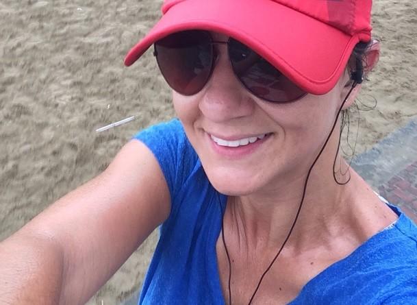 Selfie de Adriana Cutino após o treino  (Foto: Arquivo Pessoal)
