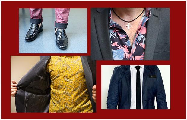Alguns detalhes nas produções de Daniel: estampas, tecidos diferentes e acessórios (Foto: The Voice Brasil / Tv Globo)