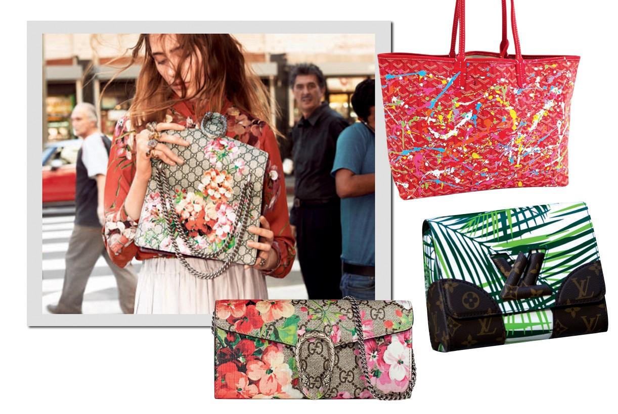 Bolsa da coleção GG Blooms, quetraz gerânios estampados, da Gucci. Bolsa Goyard customizada por Olivia Lambiasi. Gucci R$ 3.460 e Louis Vuitton (Foto: Divulgação)