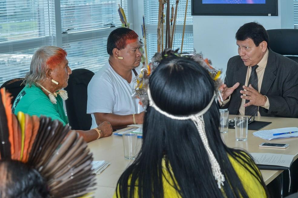 Franklimberg de Freitas recebe povos indígenas do Cerrado em audiência quando ainda era diretor da Funai  (Foto: Mário Vilela/Funai)