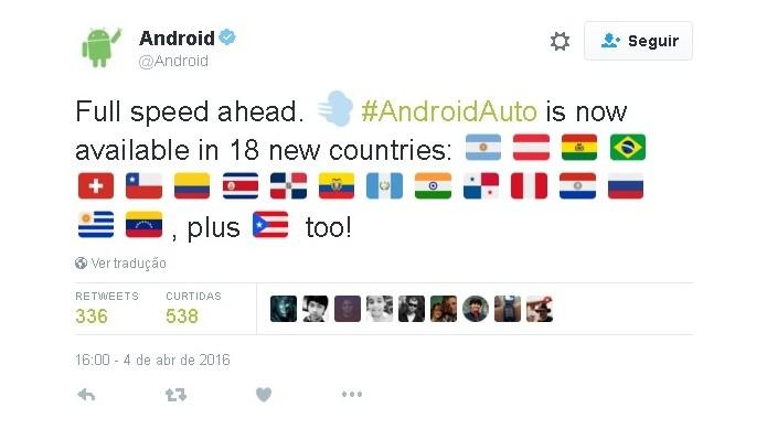 Anúncio sobre expansão do Android Auto foi feita via Twitter (Foto: Reprodução/Teitter)