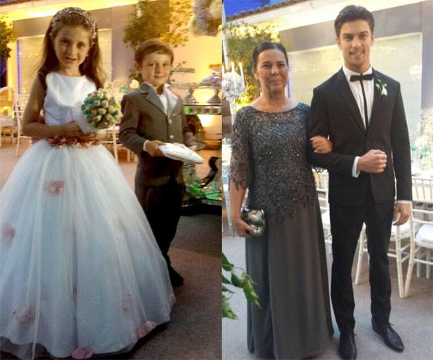 Casamento Carol e Raphael - os sobrinhos pajens e Raphael com a mãe (Foto: Acyr Mera Júnior)