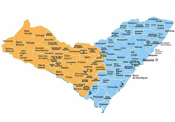 Mapa do estado de Alagoas (Foto: Reprodução/IBGE)