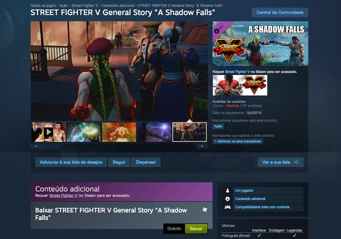 Baixe o DLC de Street Fighter V gratuitamente no Steam (Foto: Reprodução/Murilo Molina)