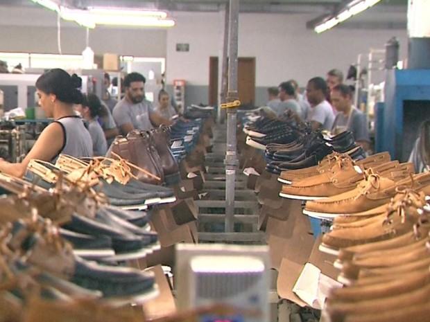 Fábrica de calçados de Franca, SP (Foto: Márcio Meireles/EPTV)