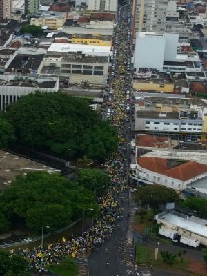 Manifestação Uberlândia (Foto: PMMG/Divulgação)