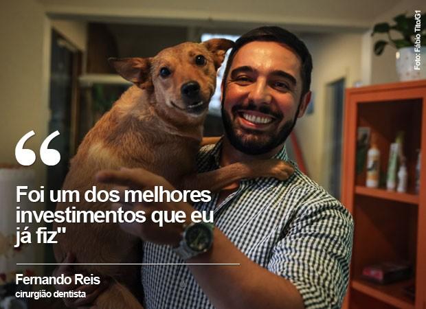 O cirurgião dentista Fernando Reis deixa sua cadela na creche três vezes por semana (Foto: Fábio Tito/G1)