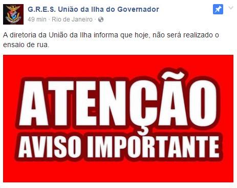 Comunicado da União da Ilha (Foto: Reprodução/Facebook)