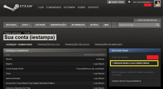 Você também pode adicionar fundos a sua carteira para gastar na plataforma (Foto: Reprodução/Paulo Vasconcellos)