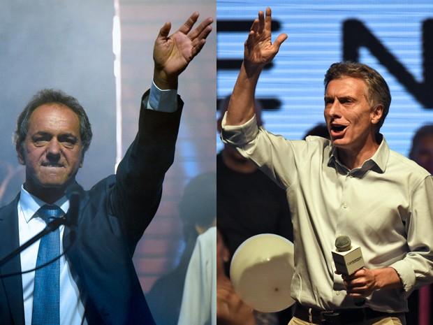 Scioli e Macri aproveitaram dia seguinte ao 1º turno para reforçar diferenças em seus discursos (Foto: AFP Photo/Juan Mabromata/Eitan Abramovich)