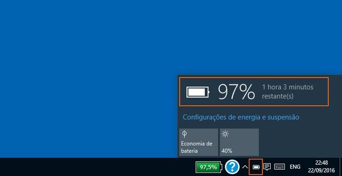 Confira a porcentagem da bateria do notebook de forma nativa no Windows 10 (Foto: Reprodução/Barbara Mannara)
