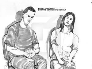 05/03/2013 - Ilustração de Bruno e Dayanne, durante o depoimento de Célia (Foto: Leonardo Aragão/G1)