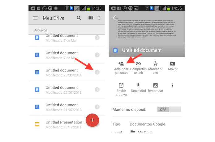 Iniciando a ferramenta de compartilhamento de arquivos do Google Drive do Android (Foto: Reprodução/Marvin Costa)