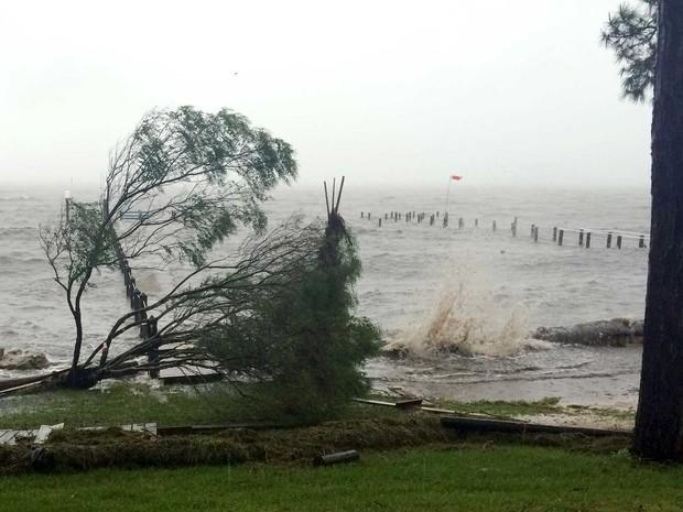 Furacão Hermine provoca ressaca no litoral da Flórida (Foto: Joshua Replogle / AP Photo)