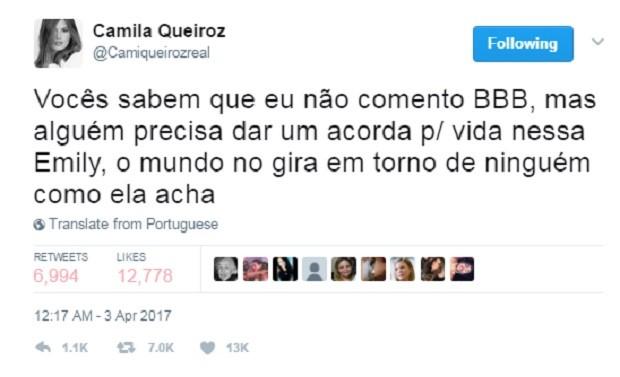 Posts de Camila Queiroz (Foto: Reprodução/Twitter)