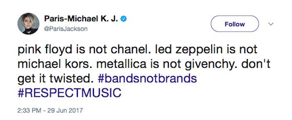 Uma das críticas feitas por Paris Jackson à linha de roupas de Kendall Jenner e Kylie Jenner (Foto: Twitter)