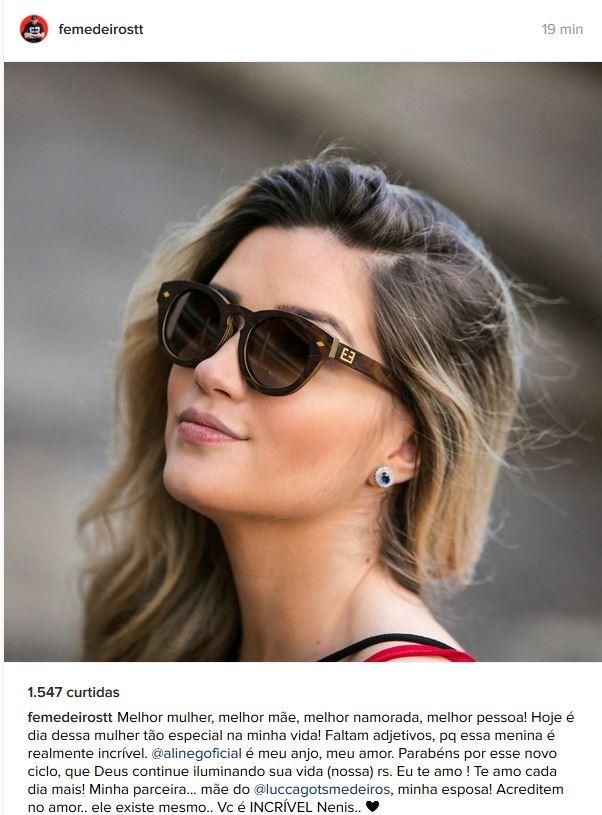 Fernando Medeiros e declara para a mulher (Foto: reprodução/Instagram)