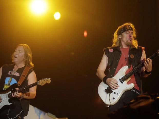 Integrantes do Iron Maiden durante o show de encerramento no Palco Mundo (Foto: Wilton Junior/Estadão Conteúdo)