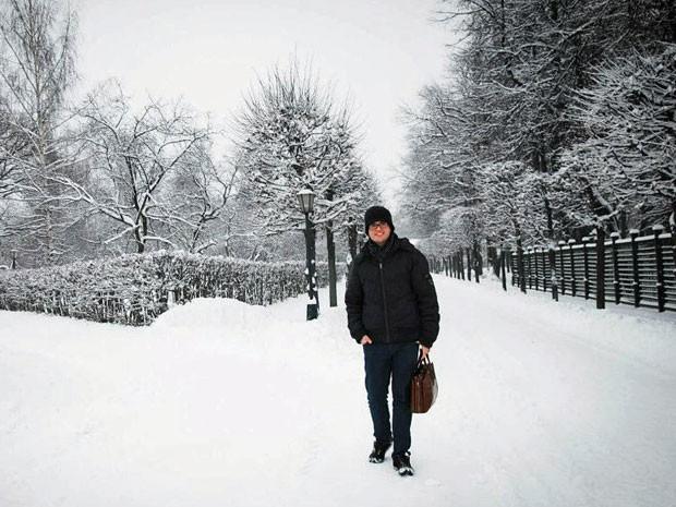 Lucirio Gonçalves de Morais enfrenta o frio da Rússia para estudar medicina (Foto: Arquivo pessoal)