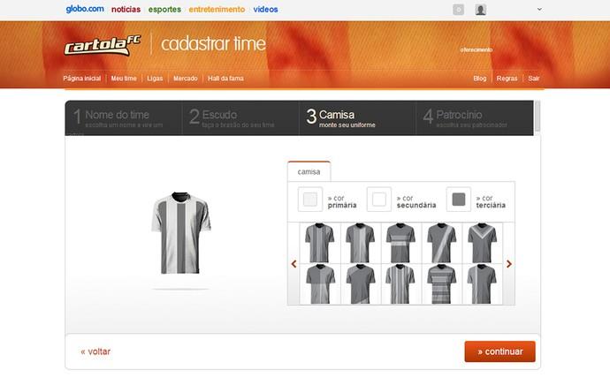 Guia Cartola tela escolha da Camisa (Foto: Reprodução)