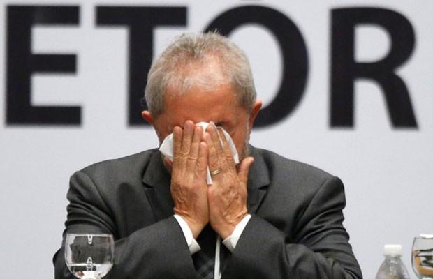 O ex-presidente Luiz Inácio Lula da Silva durante o encontro do Diretório Nacional do PT, em São Paulo (Foto: Dida Sampaio / Estadão Conteúdo)