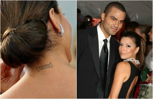 """Se fazer uma tatuagem para um cônjuge já é arriscado, o que dizer de Eva Longoria, que fez TRÊS """"tattoos"""" para o jogador de basquete Tony Parker? Os dois foram oficialmente casados durante cerca de quatro anos, mas foi tempo suficiente para Longoria fazer um """"nine"""" (""""nove"""") na nuca, em referência ao número do então marido nas quadras, um """"07-07-07"""" no pulso, alusão à data em que se casou com o atleta, e ainda as iniciais """"T.P."""" em alguma parte do corpo que ela nunca revelou. Em 2012, um ano após o divórcio sair, a atriz já havia removido todas essas tatuagens. (Foto: Getty Images)"""