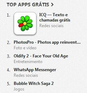 ICQ é o aplicativo gratuito mais baixado para iOS no Brasil (Foto: Reprodução/iTunes Store)