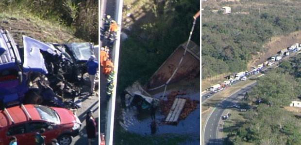 Acidente envolvendo seis caminhões e três carros de passeio, na BR-060, próximo a Alexânia, deixou uma pessoa morta e oito feridas na manhã desta terça-feira (10) (Foto: Reprodução/TV Globo)