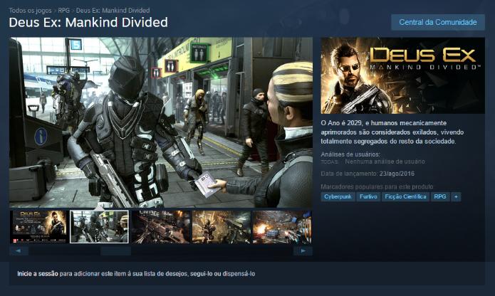 Como baixar Deus Ex: Mankind Divided no PC, Xbox One e PS4 ...