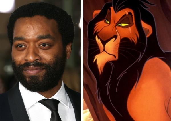 O ator Chiwetel Ejiofor e o vilão Scar de O Rei Leão (1994) (Foto: Getty Images/Reprodução)